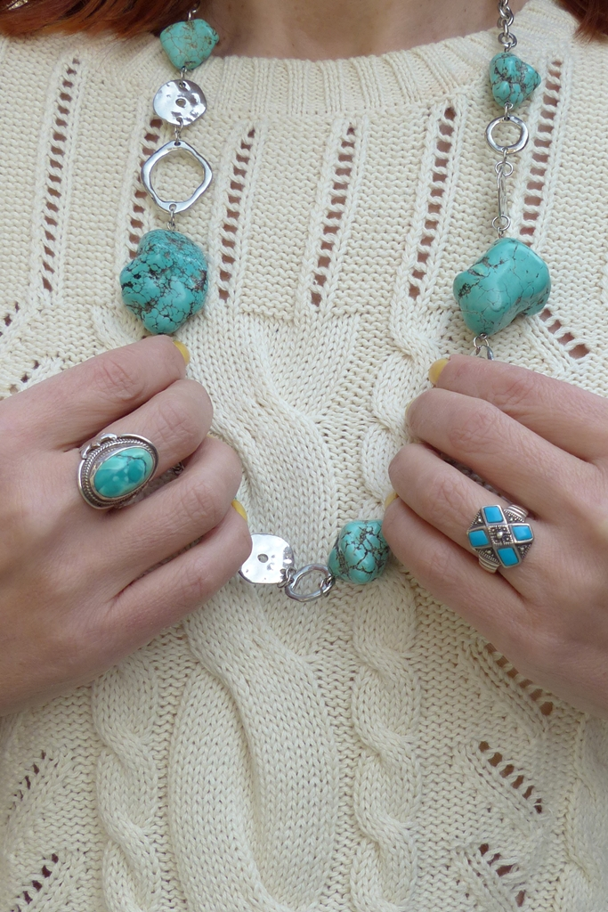 turquoise jewelry: rings and necklace