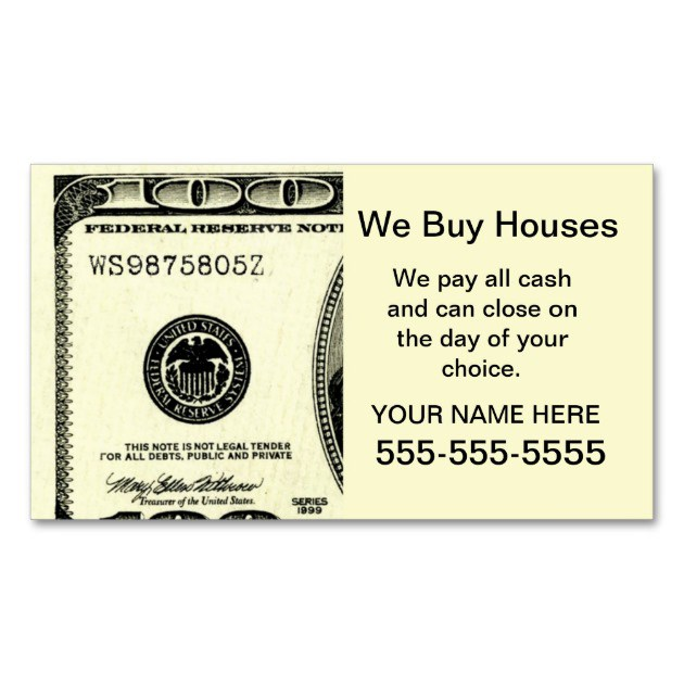 Blockbusting - We Buy Houses Business Cards - House ...