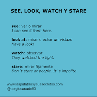 Diferencia entre see, look at, watch y stare