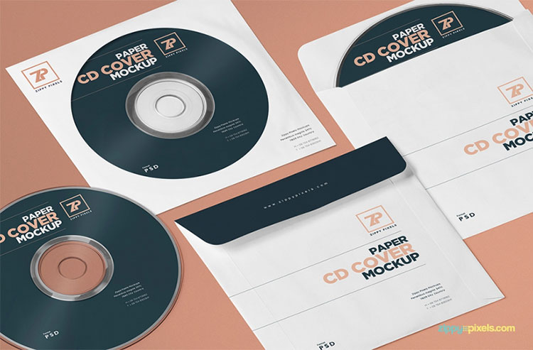 Free PSD Paper CD Cover Mockup