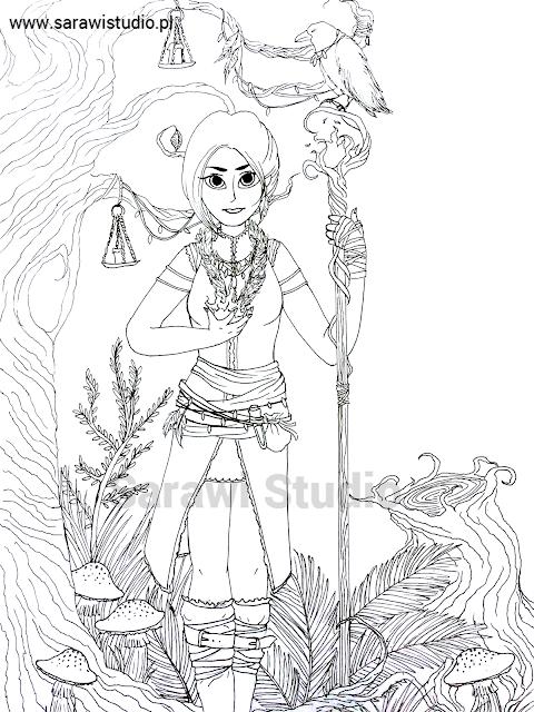 czarna magia, magia, wiedźma, czarownica, czarodziejka, postać, fantasy, las, roślinność, rysunek, lineart,