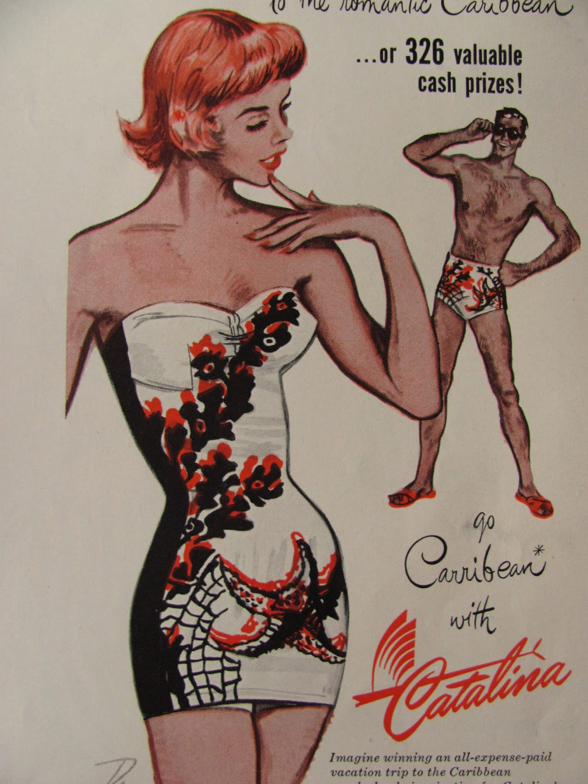 3aaa648ed3 Vintage swimwear by Catalina are classics. In the 1950's, bold new designs  were created for collections that this California label produced to attract  a sun ...