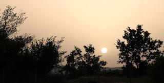 The sun descends to the horizon