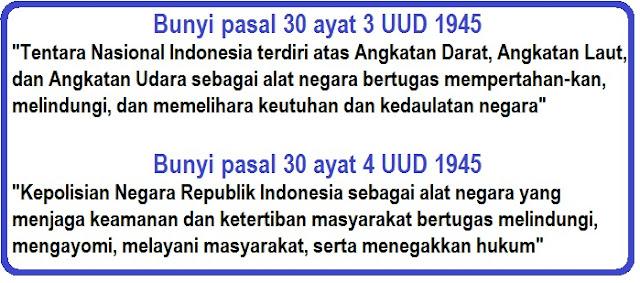 berikut ini adalah bunyi lengkap dari pasal 30 ayat 1 dan 2 Undang - undang dasar nebagra republik Indonesia tahun 1945.