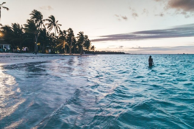 Swimming in a beach in the Caribbean
