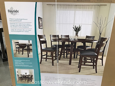 Costco 1158045 - Bayside Furnishings 7-piece Counter-Height Round Drop-Leaf Dining Set: great for any home's dining room