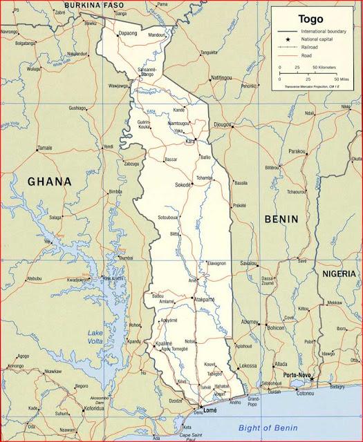 Gambar Peta politik Togo