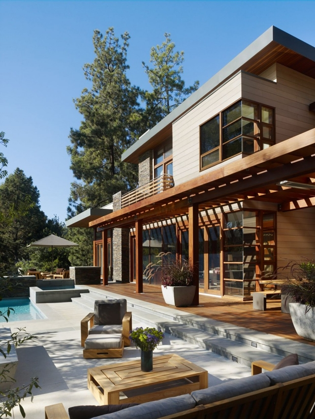 Terrace of the Mandeville Canyon Residence