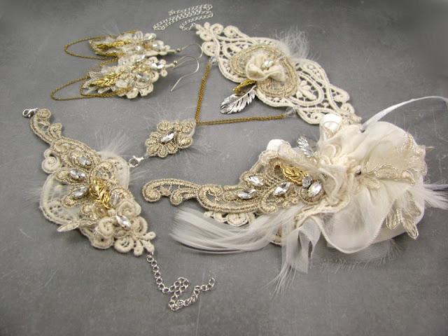 Biżuteria ślubna w stylu boho, komplet.