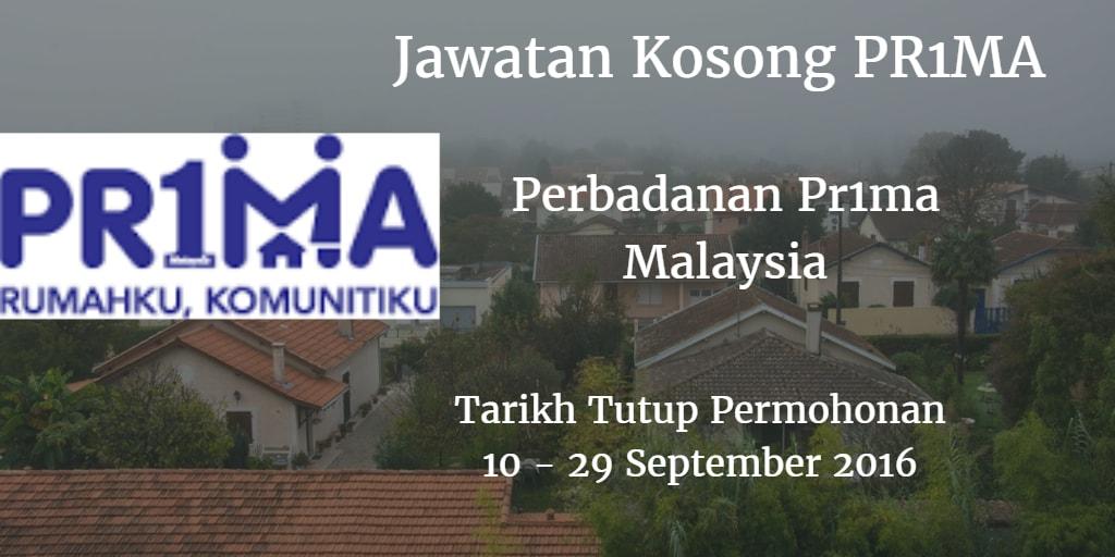 Jawatan Kosong PR1MA 10 - 29 September 2016