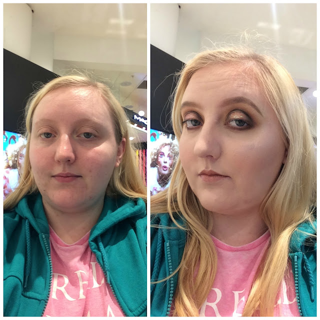 Photos of myself before and after my makeover