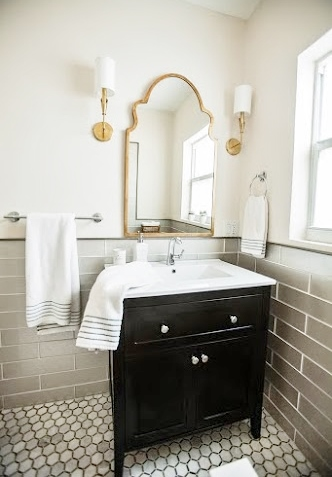Updated Subway Tile In Champagne Gold Mirror Patterned And Brass Black Sconces The Went On Back Order So We Shifted Gears