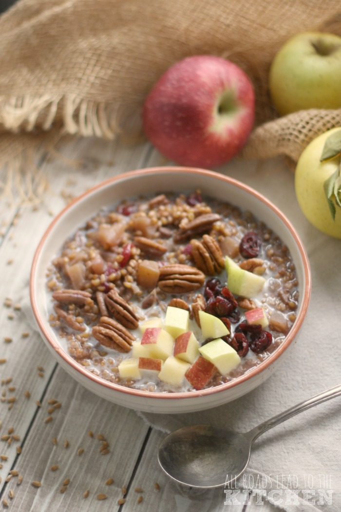Slow Cooker Apple Cranberry Einkorn Porridge