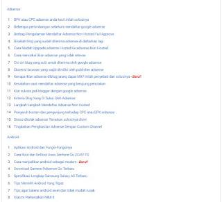 Cara membuat daftar isi atau sitemap diblog terbaru