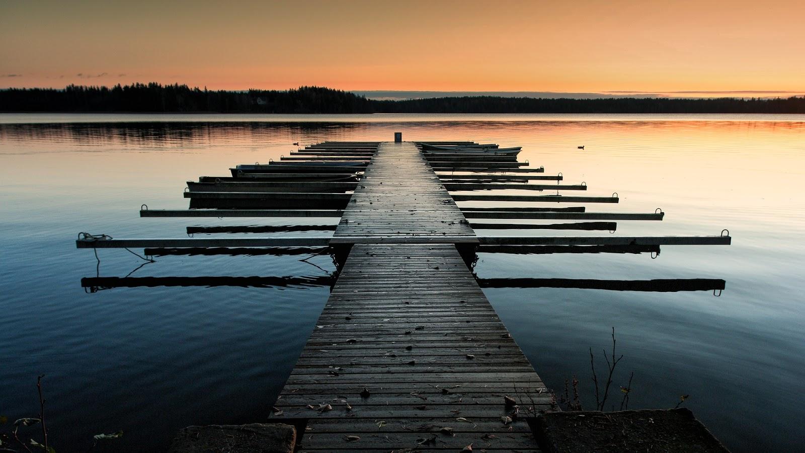 järvi, laituri, suomi, luonto, auringonlasku