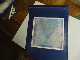 Parchment Christmas card, Peace and snowflakes, in blue, purple and pink