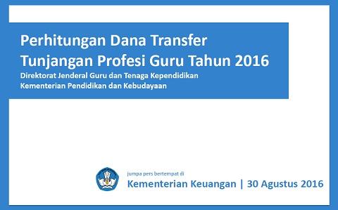 Perhitungan Dana Transfer Tunjangan Profesi Guru (TPG) Tahun 2016 Dirjen GTK Kemdikbud