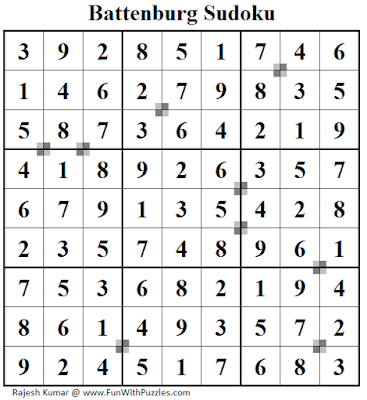 Battenburg Sudoku (Fun With Sudoku #215) Puzzle Answer