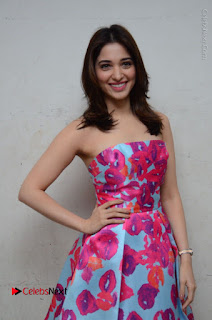 Actress Tamanna Latest Images in Floral Short Dress at Okkadochadu Movie Promotions  0109.JPG