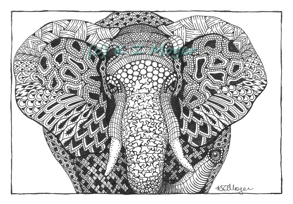 09-African-Elephant-Face-Kristin-Moger-Animal-Portraits-Dressed-with-Zentangle-Textures-www-designstack-co