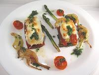 Lasaña de verduras y gratinado de queso de cabra