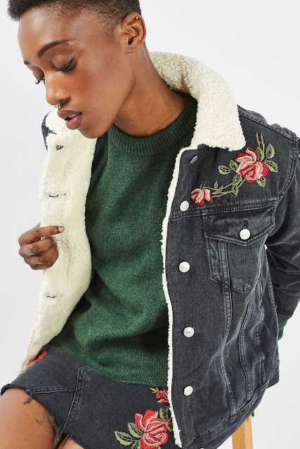 denim embroidered black jacket