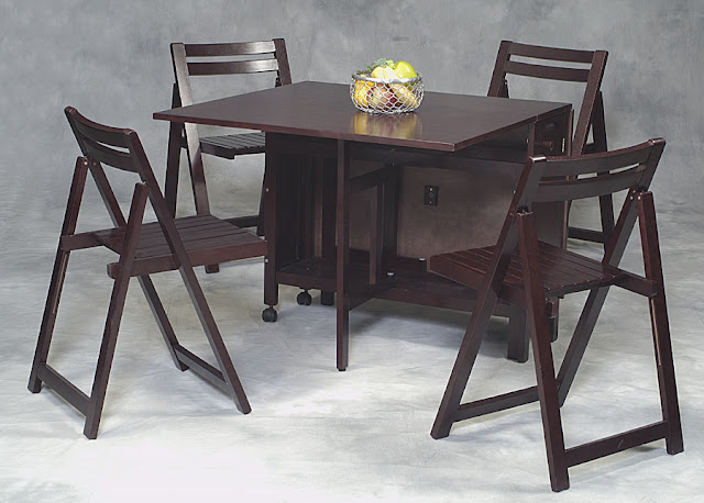 awesome wood folding dining room table with four simple folding chairs