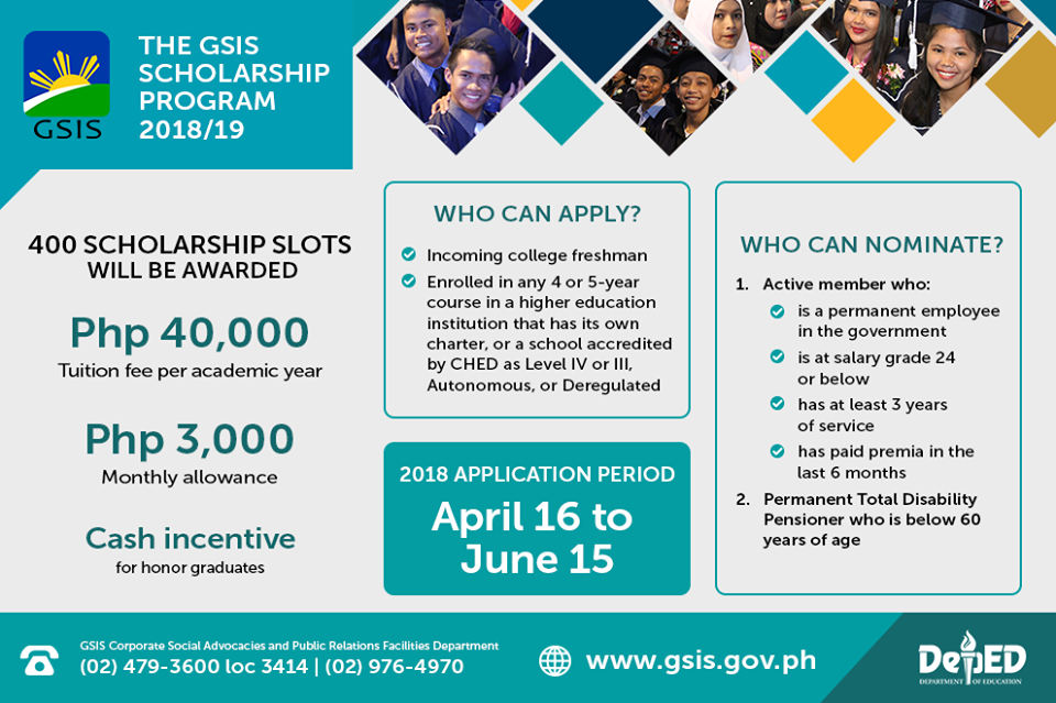 GSIS Scholarship program for AY 2018-2019: application period, requirements, benefits