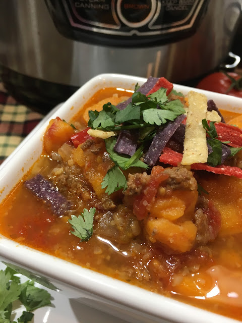 Instant Pot Sweet Potato Chipotle Chili, Hearty, easy meal, Chasing Saturday's