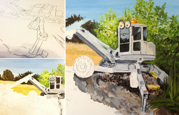 Spider Excavator - StrolesTriService - West Coast Excavation - Atascadero Illustration & Graphic Design