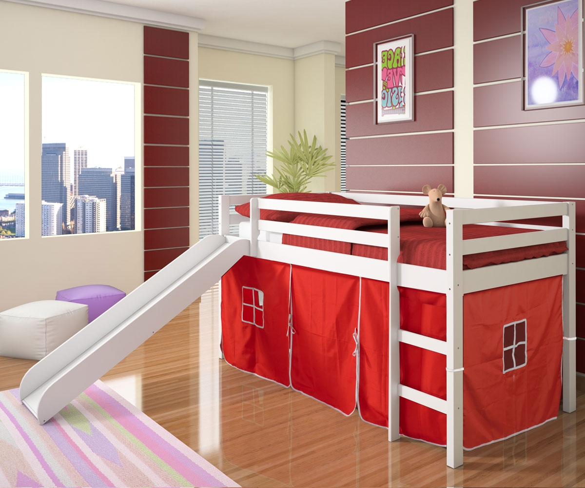 Awesome White Wooden Bunk Bed With Red Tent Slide White Bedroom Furniture Beds Boys Castle And Carpet Colorful Striped On The Wooden Floor Combined With A ... : castle tent bed - memphite.com
