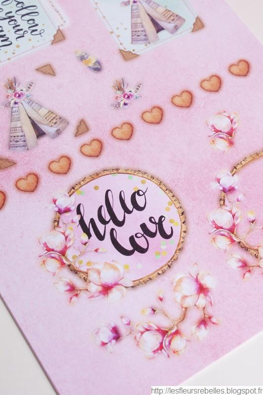 Blocs d'illustrations détails dessins fleurs roses