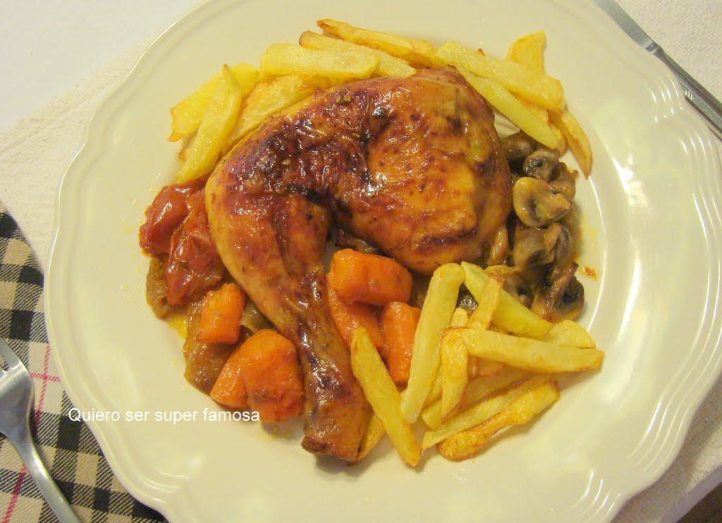 QUIERO SER SÚPER FAMOSA: Pollo al horno con hortalizas y patatas fritas