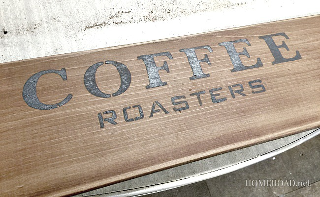 An Old Sign Stenciled Coffee Mug Rack and a Sad Story www.homeroad.net