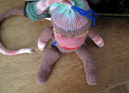 tie dyed vintage sock monkey
