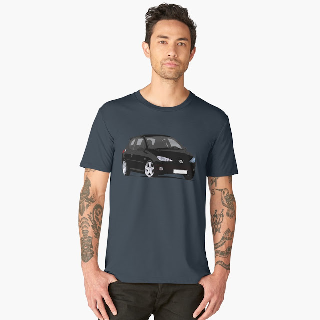Peugeot 206 RC t-shirt car illustration