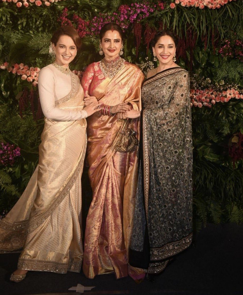 latest news rekha in sindoor and traditional sari at the
