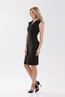 Rochie neagra din stofa de bumbac SR01SB (Ama Fashion)