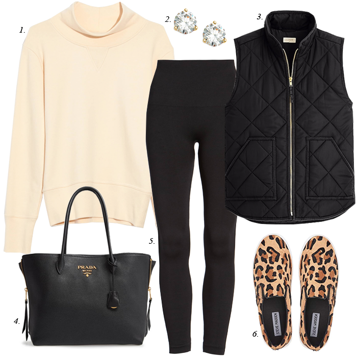 leopard sneakers, quilted vest, leggings, athleisure outfit