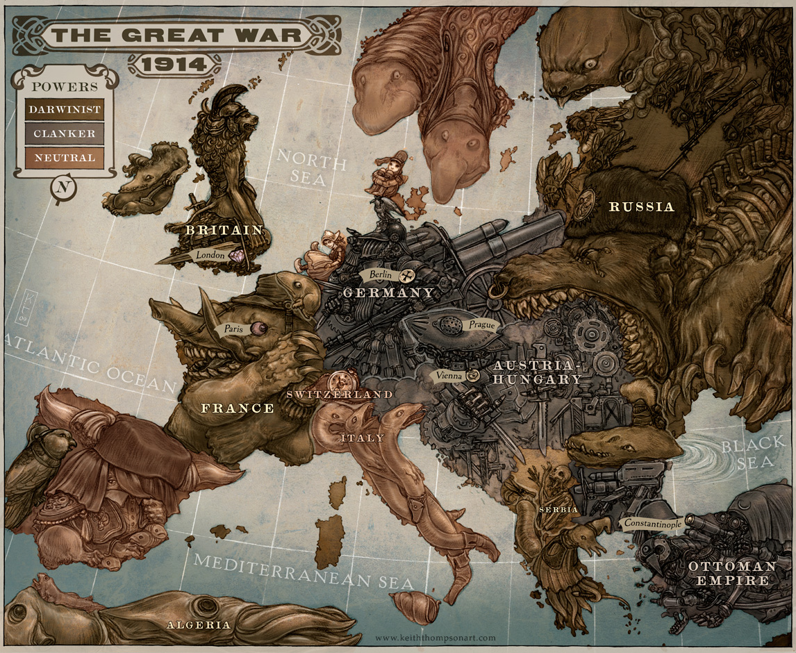 Caricature Map of Europe - The Great War (1914)