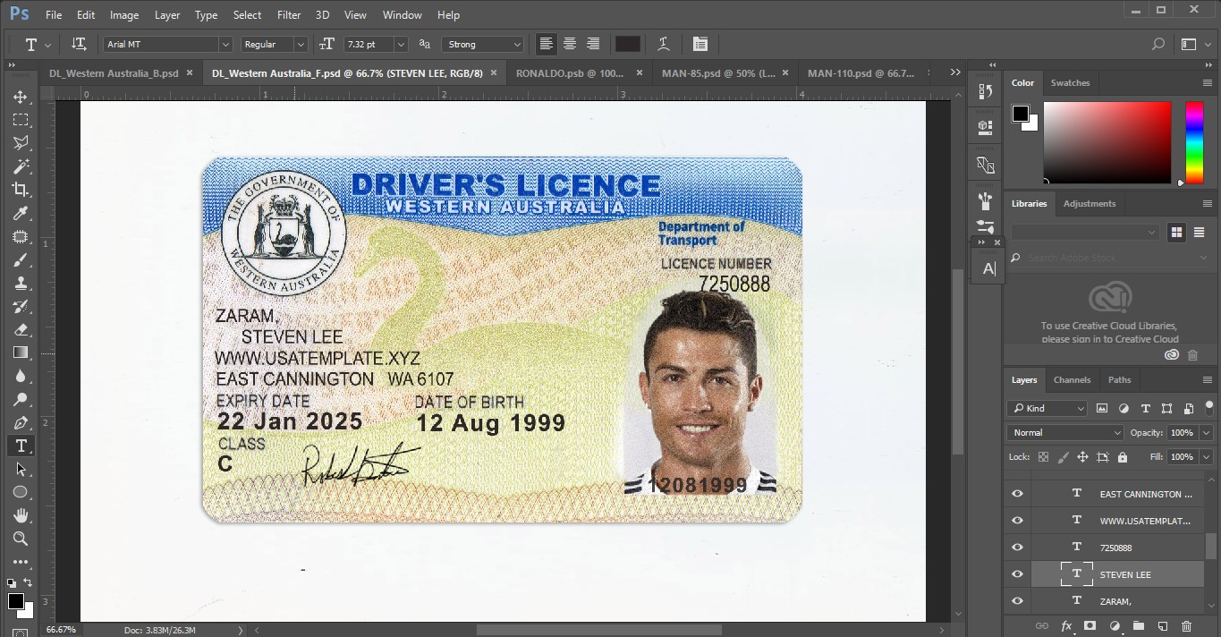 Western Australia Editable Psd Driver License Template Psd