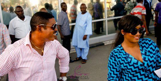 Omotola Jalade-Ekeinde arrives at airport