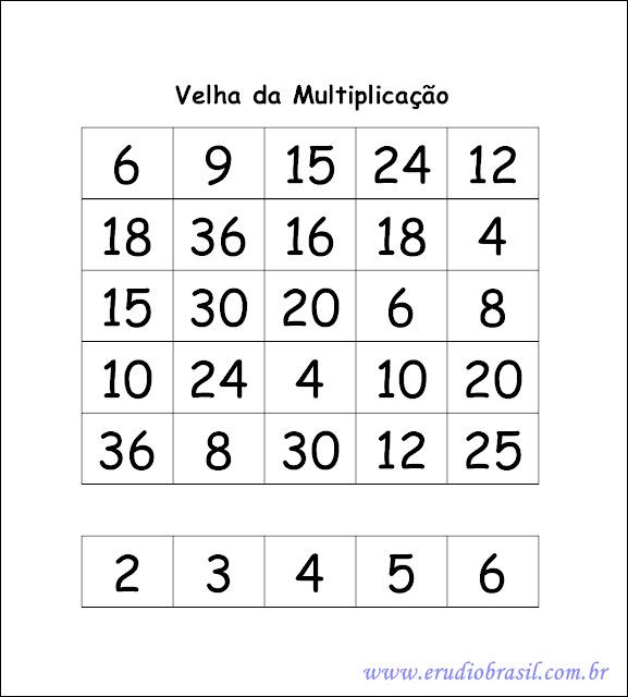 molde de jogo da velha de multiplicação