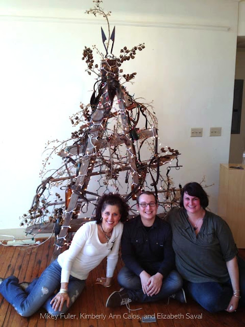 Ladder Christmas tree by Mikey Fuller and friends featured on Funky Junk Interiors