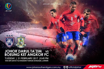 Live Streaming JDT FC vs Boeung Ket Angkor FC AFC Cup 21 Februari 2017
