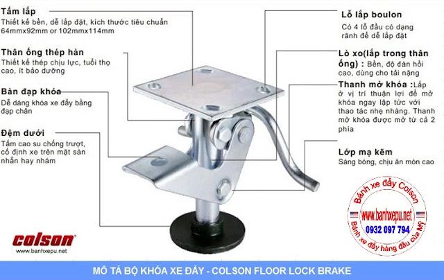 Khóa sàn xe đẩy Colson Floor Lock Brake tổng chiều cao 169mm | 6253x5 wwwbanhxeday.xyz