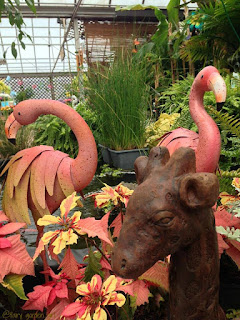 Fairy Garden Girl | Photo bombing Flamingos