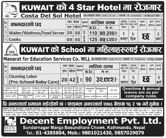 Jobs in Kuwait for Nepali, salary Rs 45,822