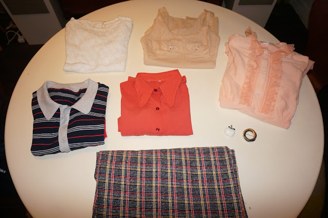 VINTAGE NIGHTROBE NIGHTDRESS knit polo crochet top checked fabric pennycollar orange shirt