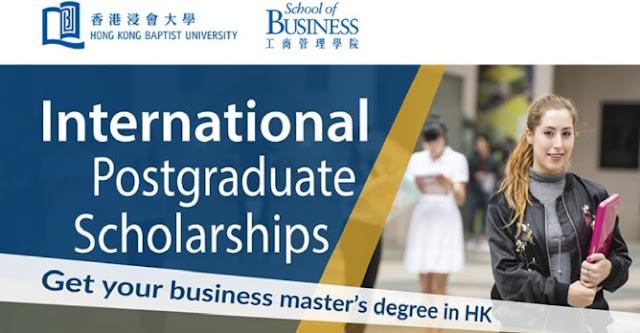 International Postgraduate Scholarship at HKBU School of Business in USA, 2019